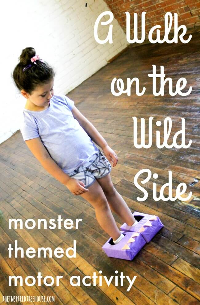 The Inspired Treehouse - Kids will love wearing these fun monster feet to take a walk on the wild side!  This is the perfect game for a Halloween party!