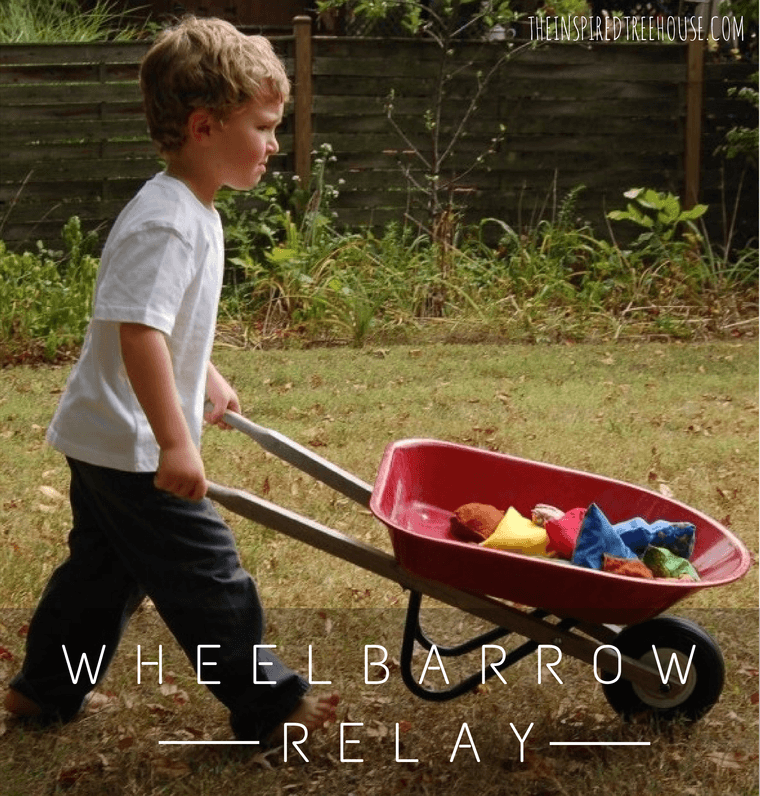 wheelbarrow relay race gross motor activities