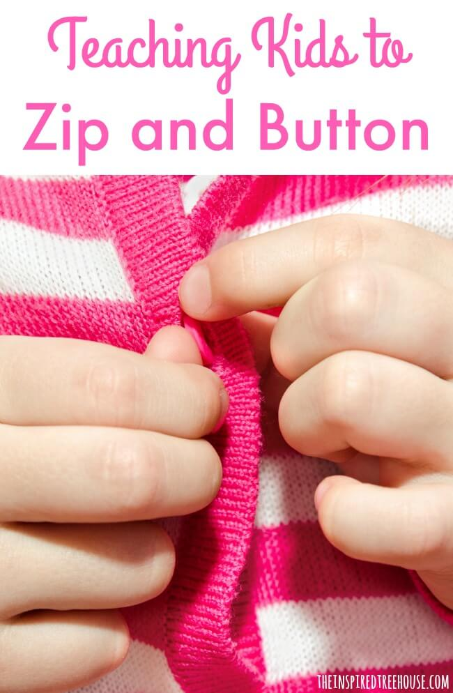 teach kids to zip and button pin