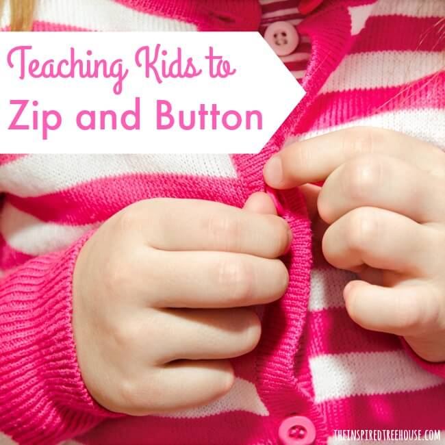 teach kids to zip and button square