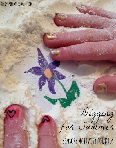 digging for summer sensory activities for kids title
