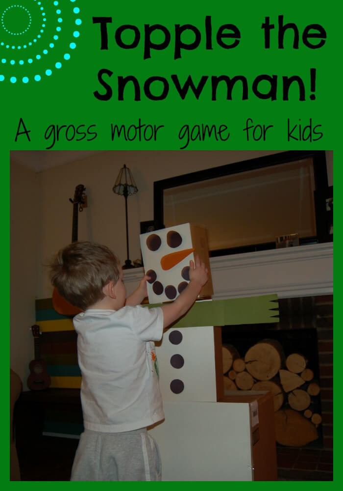 Topple the snowman and indoor gross motor game for Indoor large motor activities for toddlers