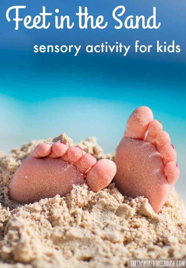 feet in the sand sensory bin pin