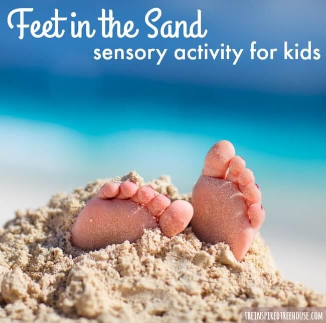 feet in the sand sensory bin square