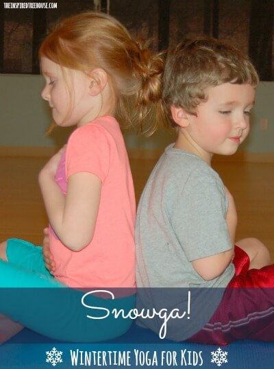 snowga winter time yoga for kids title