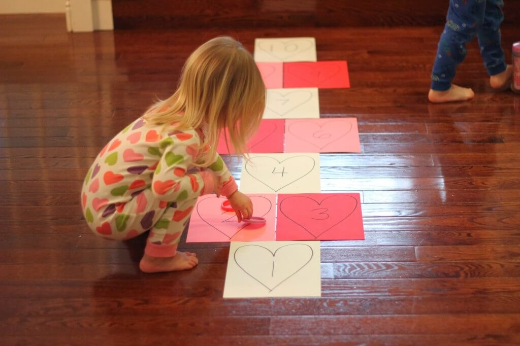 toddler approved heart hopscotch