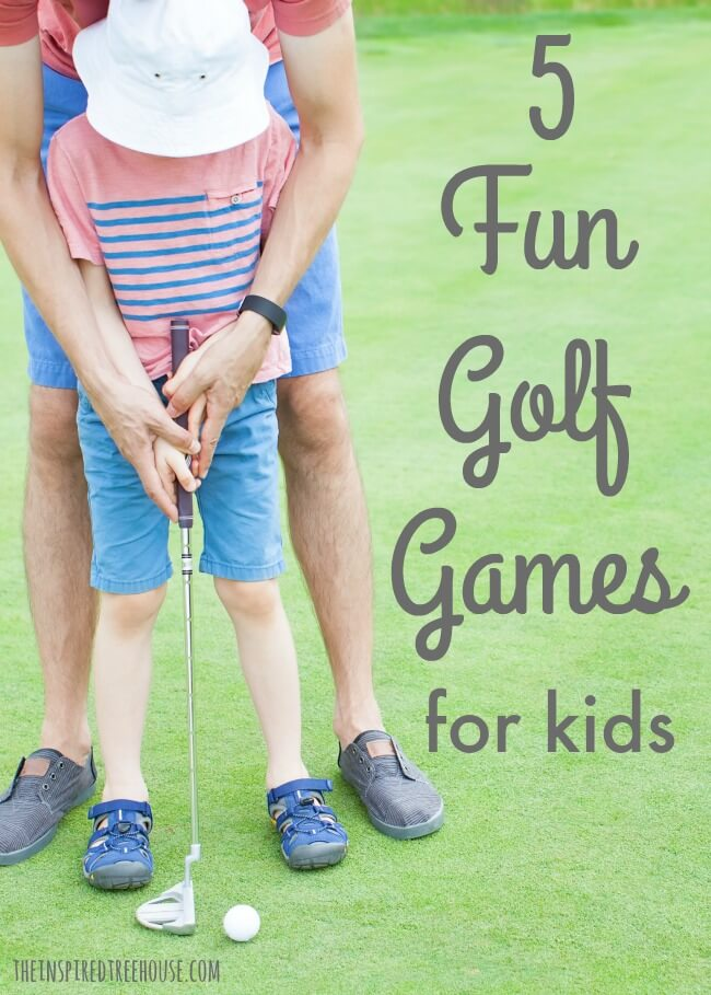 The Inspired Treehouse - 5 Fun Golf Games for Kids!  These great games are fun for the whole family and a great way for kids to practice coordination and motor control.