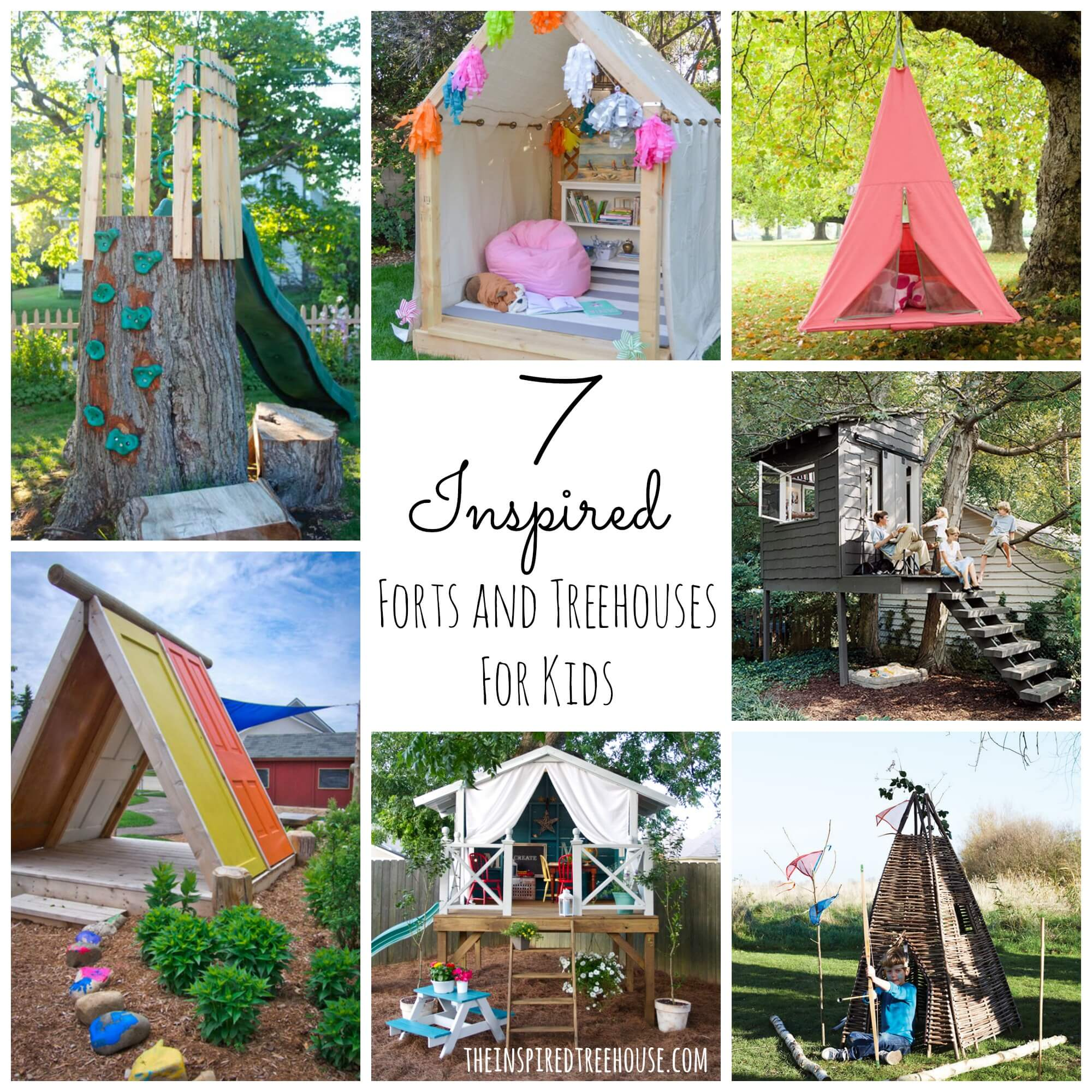 7 inspired forts and treehouse designs for kids collage