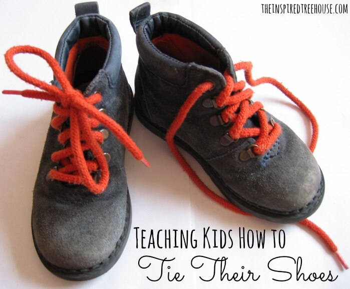 child develompent teaching kids how to tie their shoes image