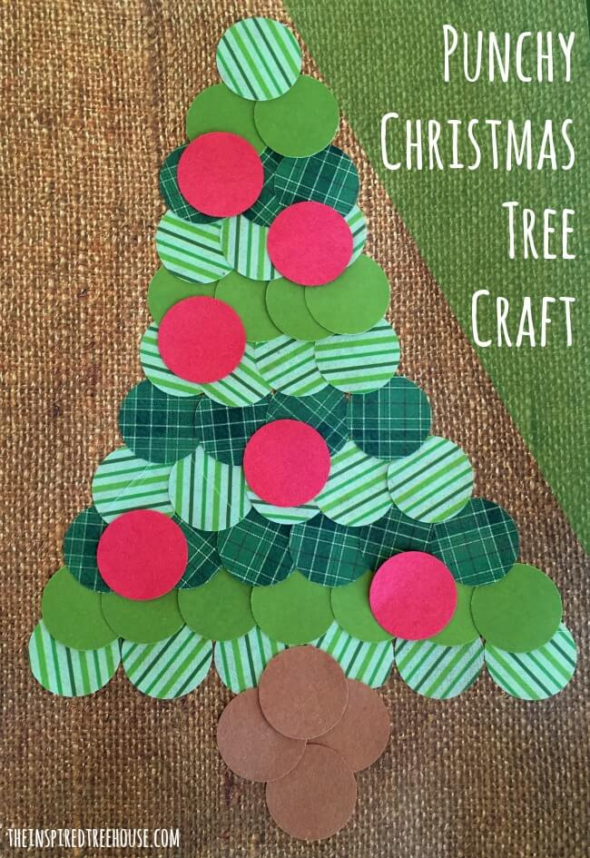 punchy christmas tree paper crafts for kids title