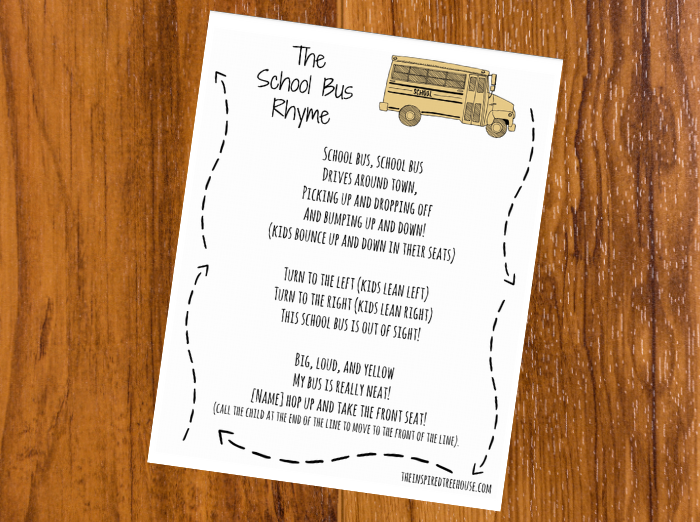The Inspired Treehouse - This free printable school bus movement rhyme is the perfect way to introduce young students to their classroom and new friends!