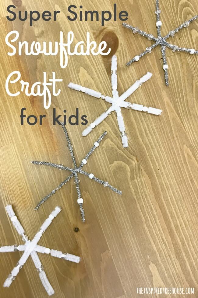 The Inspired Treehouse - Check out these super simple snowflake crafts for kids!  A great way to keep little hands busy this winter while working on fine motor coordination and grasping skills!