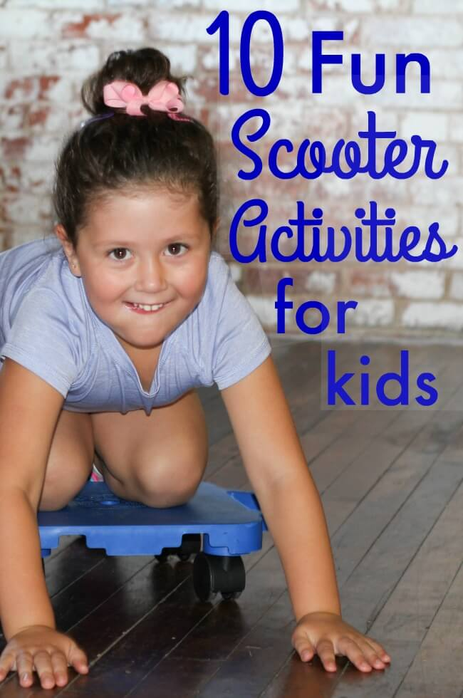 The Inspired Treehouse - These fun scooter activities for kids are great for upper body strengthening, core strengthening, coordination, endurance, and more!