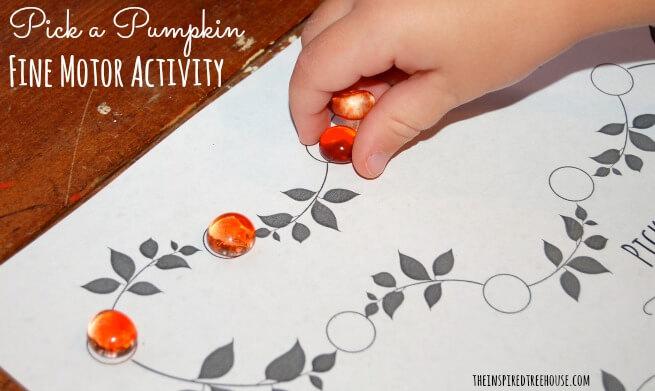 building fine motor skills pick a pumpkin finn