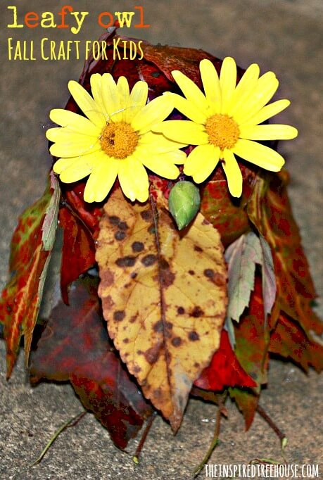 fall crafts for kids leafy owl title image2