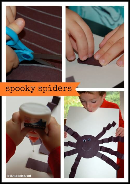 halloween crafts 3d spooky spiders title