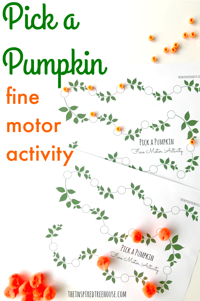 Free printable pumpkin activities pages for fine motor skills.