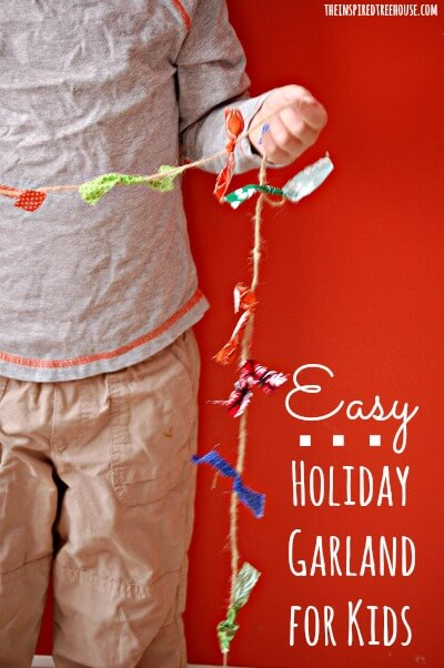 easy crafts for kids holiday garland TITLE FINAL
