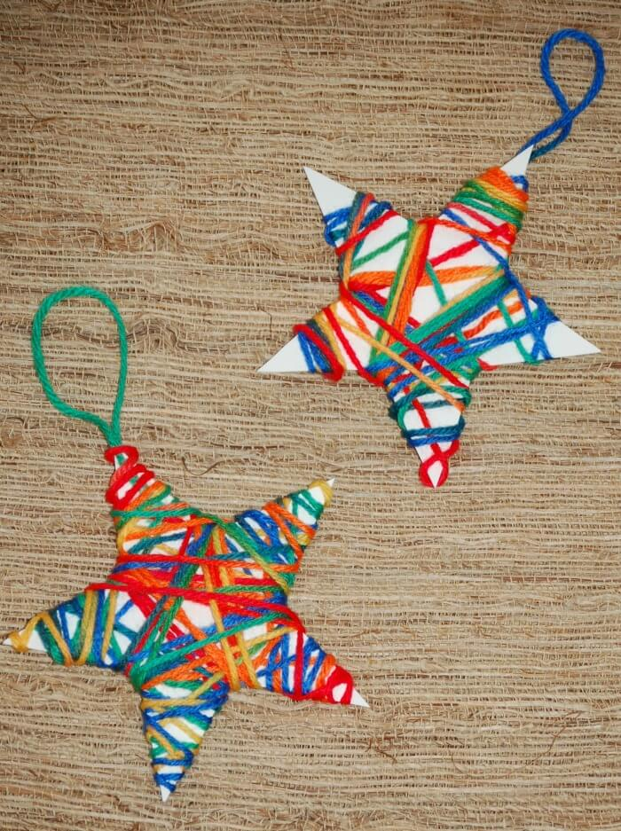 Christmas crafts for kids yarn wrapped ornaments the for Christmas crafts for preschoolers pinterest