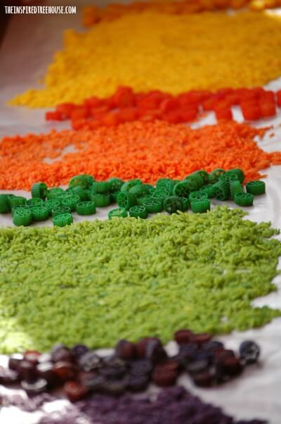colored rice and pasta kids activities