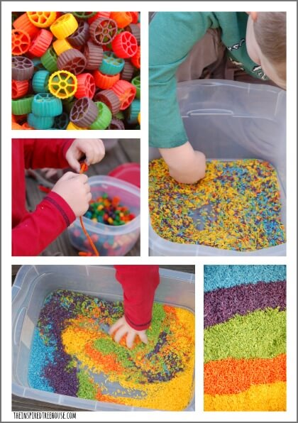kids activities colored rice and pasta