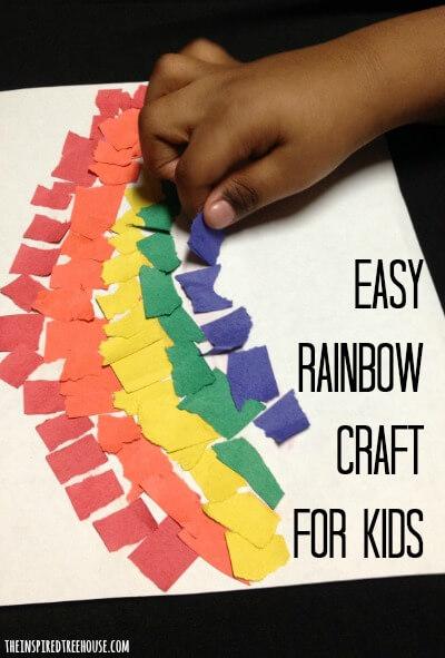 easy crafts for preschoolers torn paper rainbow