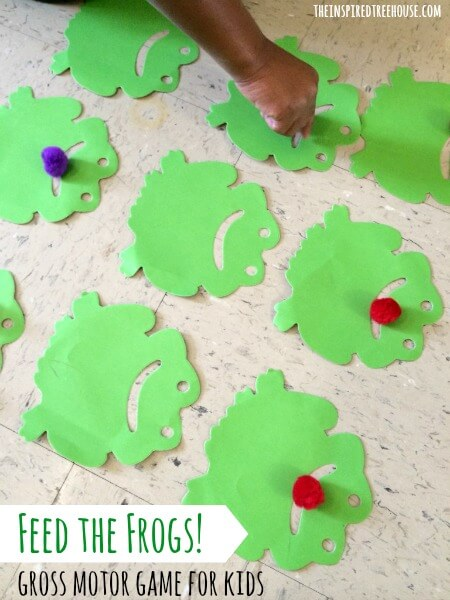 gross motor activities for preschoolers feed the frogs title