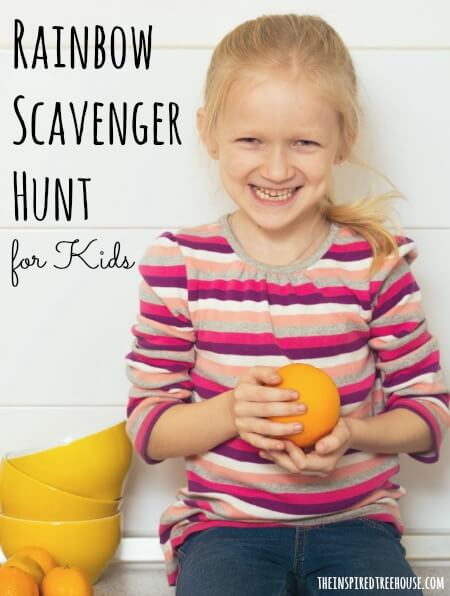 spring activities rainbow scavenger hunt title