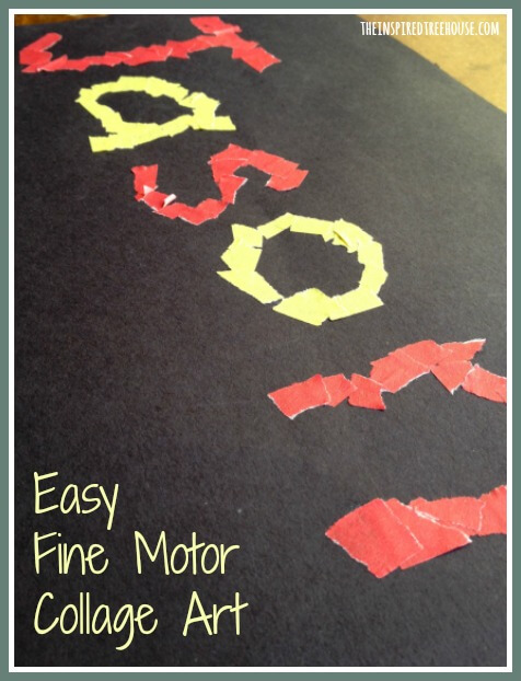 fine motor collage art title