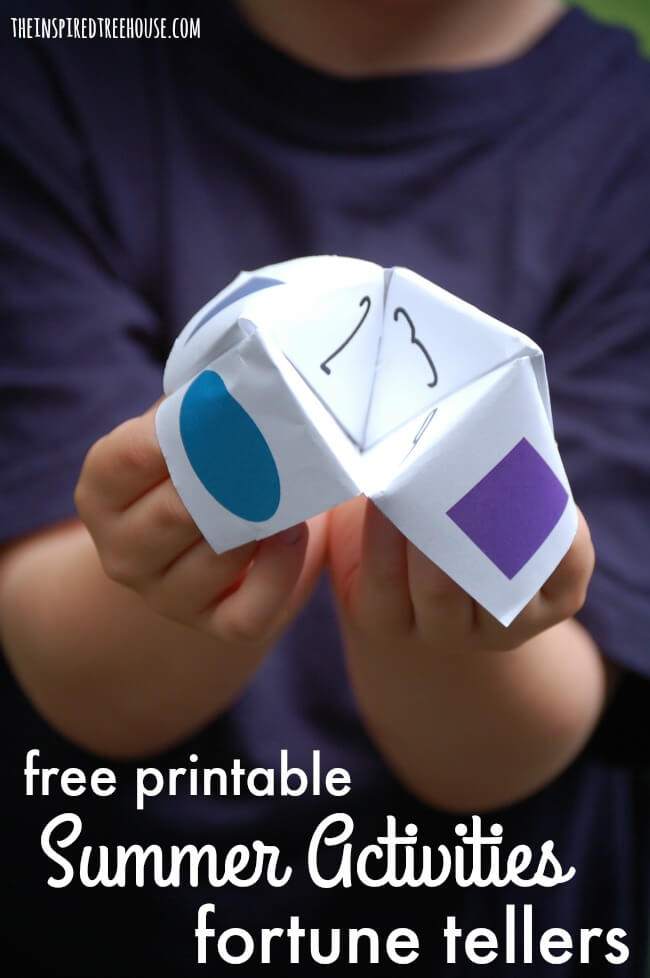 The Inspired Treehouse - Free Printable Summer Activities Fortune Tellers - This fun little craft can help you choose something fun to do on those long, hot summer days! Choose from rainy day activities, backyard activities, chores, activities and outings, or use the blank one to create your own!