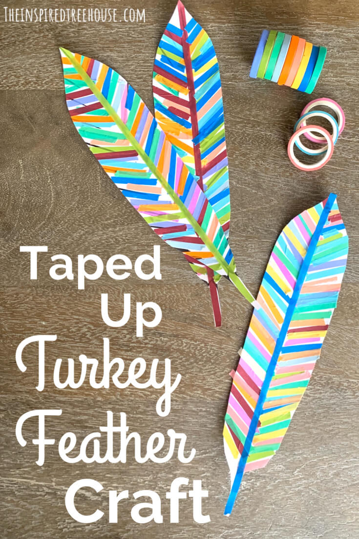 Colorful turkey feathers with tape