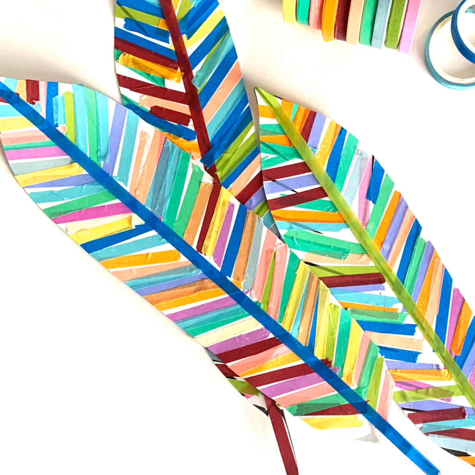 Colorful turkey feather craft with tape