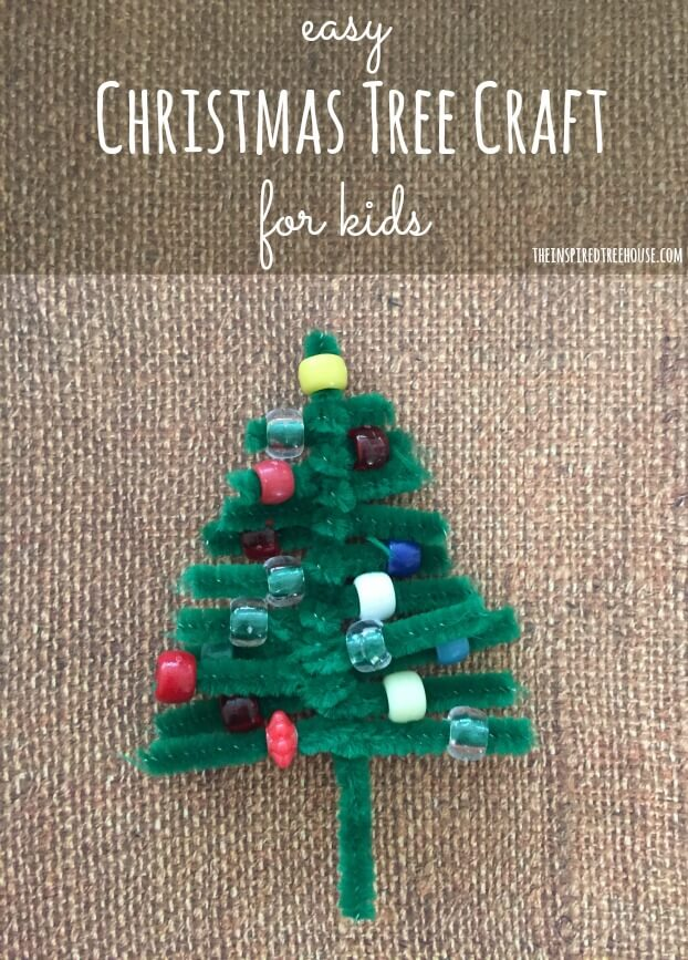 easy christmas craft for kids title - Pipe Cleaner Christmas Tree