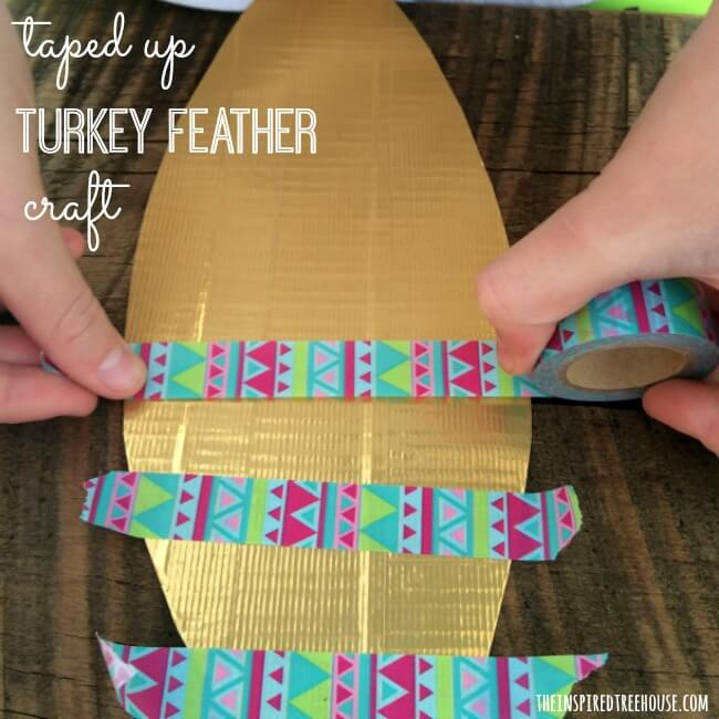 taped up turkey feather craft taping