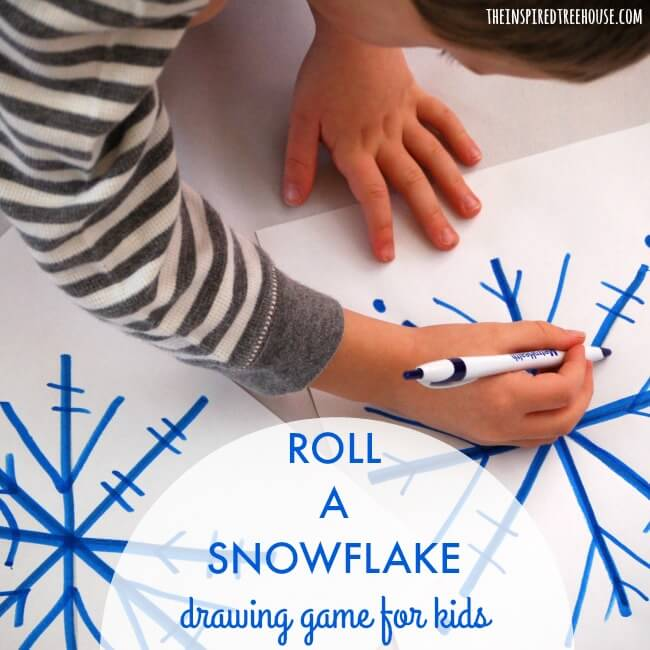 roll a snowflake drawing game for kids square