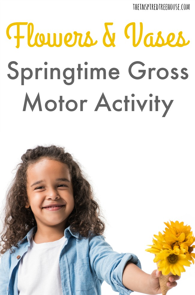 The Inspired Treehouse - For this flower-themed gross motor game, we scoured our bathrooms for empty toilet paper rolls, gathered up pretty tape, found some colorful flowers and got to work!