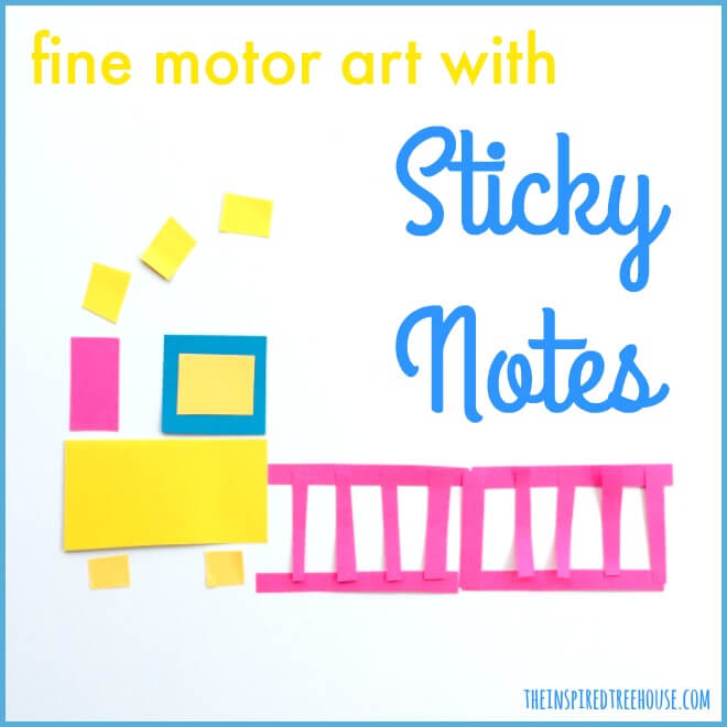 The Inspired Treehouse - Sticky Note Fine Motor Art - Looking for fun creative crafts for kids? It doesn't get any easier than this!