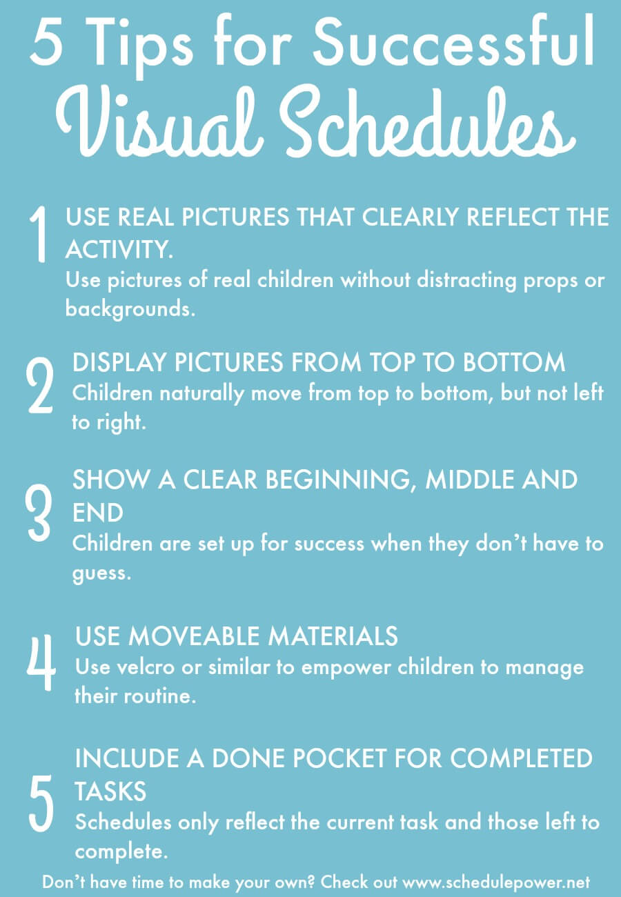 The Inspired Treehouse - 5 Tips for Making a Successful Visual Schedule to use with kids.