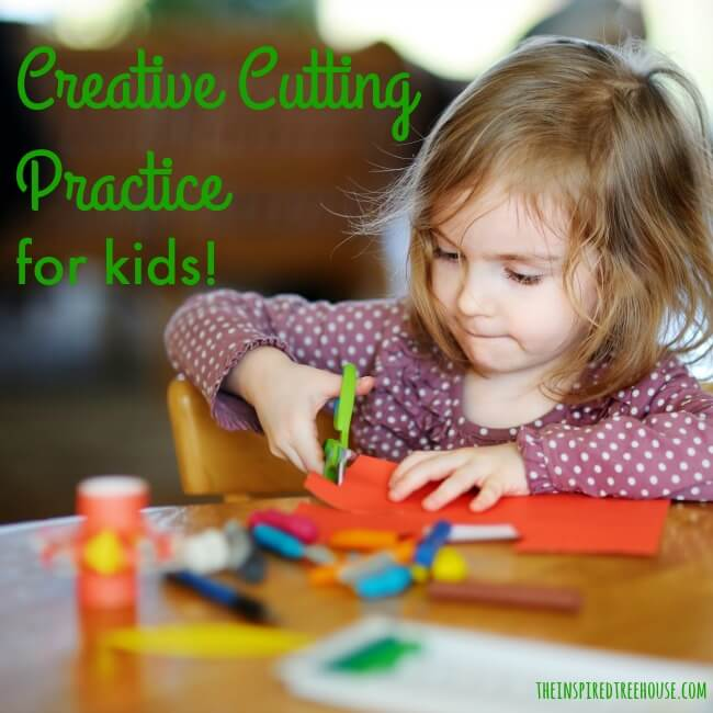 The Inspired Treehouse - Creative Cutting Practice for Kids! A pediatric occupational therapist shares the best tips for working on all of the skills involved in cutting with scissors.