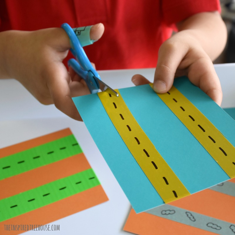 The Inspired Treehouse -This cutting activity for kids comes straight from our book, Playful Learning Lab for Kids! A great way to practice cutting while learning about transportation.