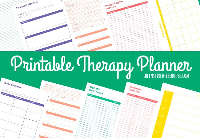 The Inspired Treehouse - This printable planner for pediatric therapists is full of schedules, calendars, note pages, data sheets, treatment planning pages and more!