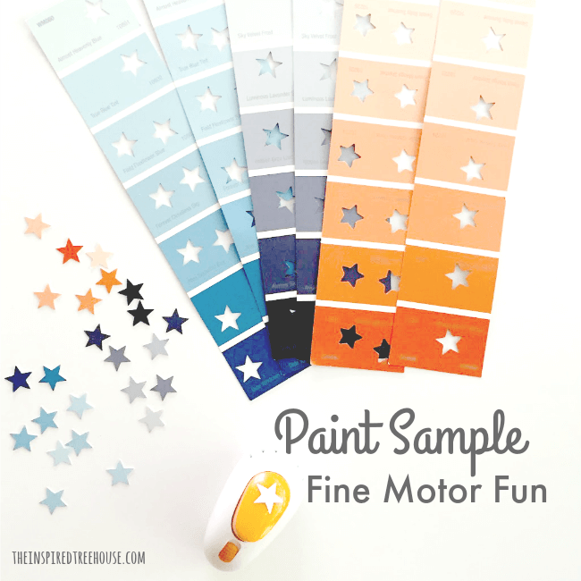 The Inspired Treehouse - There are tons of fun fine motor activities to do with paint samples! Get out your scissors and hole punches and get started!