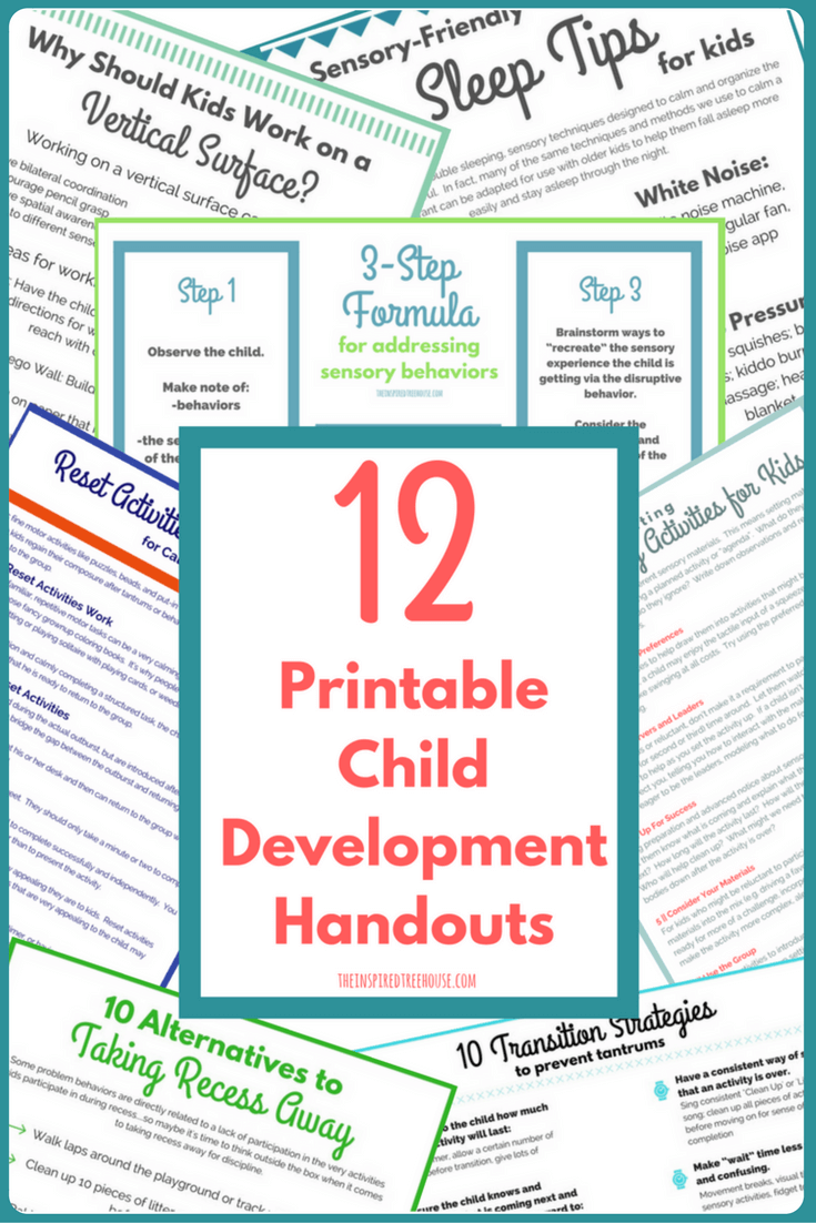 The Inspired Treehouse - 12 Pack of Printable Information Handouts for therapists, teachers, and parents!