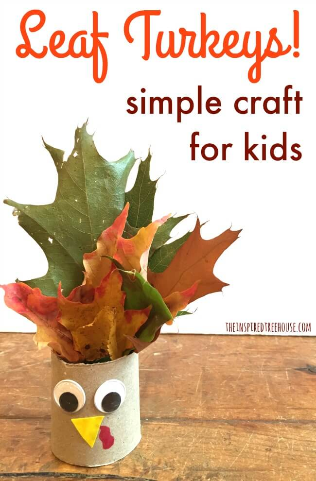 The Inspiredtreehouse - Take a walk outside to gather up some colorful leaves and you'll be on your way to creating these cute little Thanksgiving crafts!
