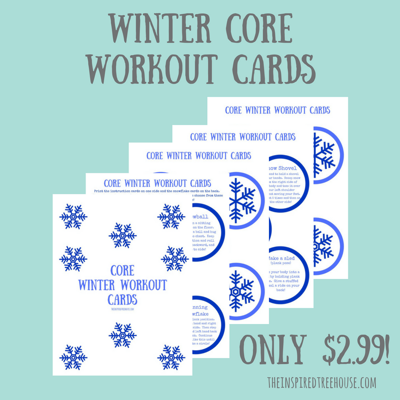 graphic about Printable Workout Cards referred to as Printable Wintertime Main Exercise Playing cards for Youngsters - The Influenced