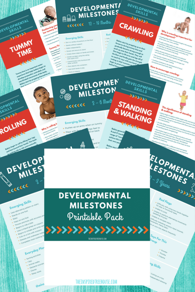 The Inspired Treehouse - Our Printable Developmental Milestones Handouts are the ideal resource for sharing information about baby, toddler, and preschool development with parents and caregivers.