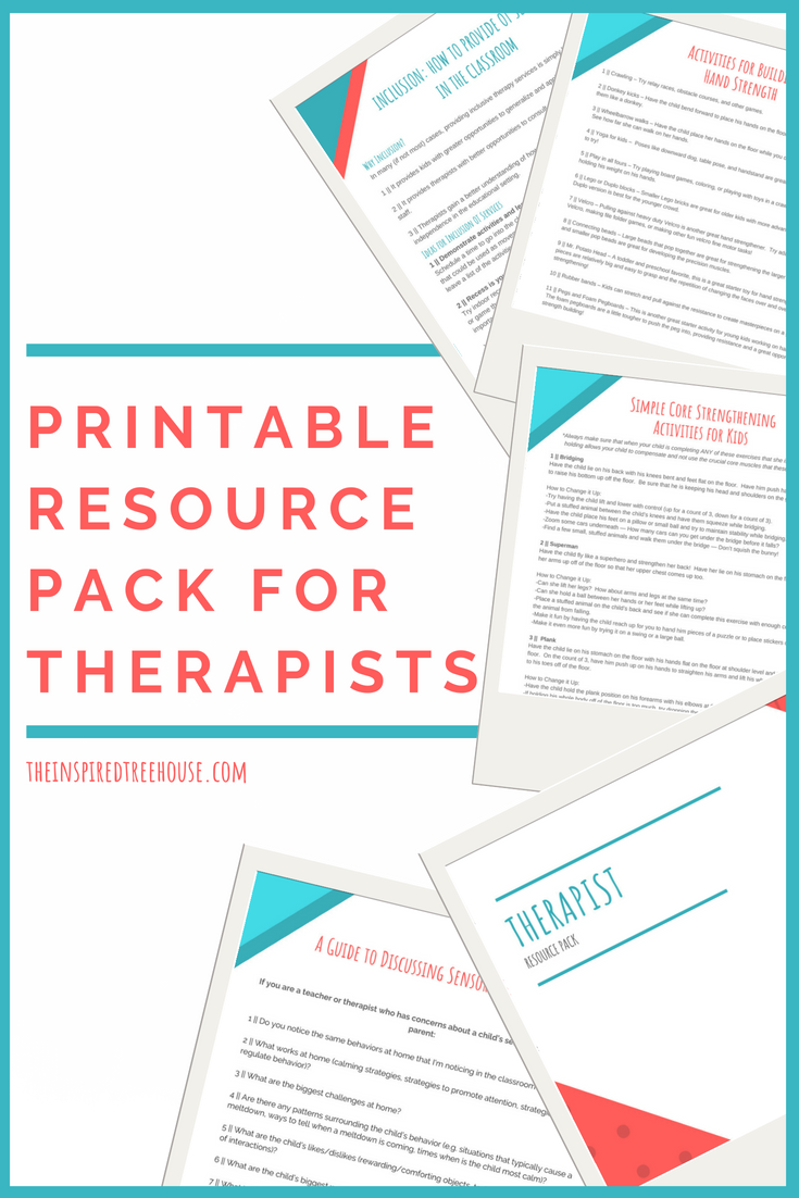 The Inspired Treehouse - This printable pack of resources for therapists is full of ideas, activities, and strategies to support you in your school-based practice and beyond!