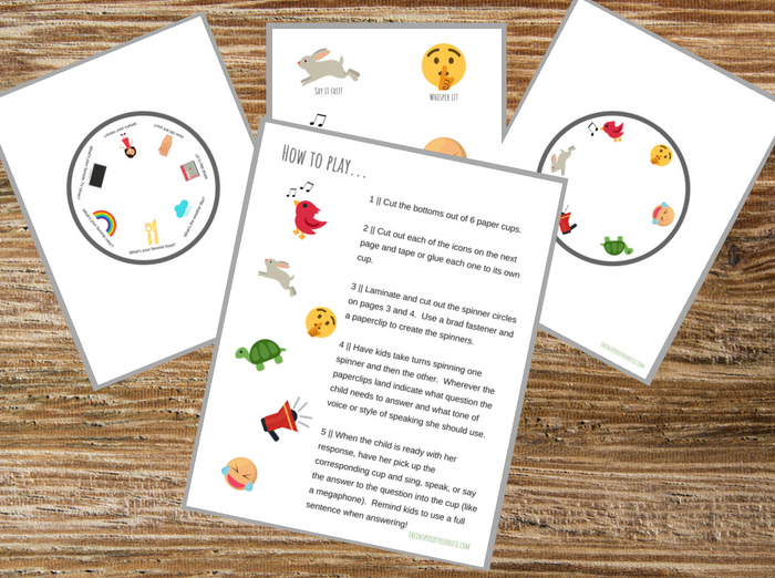 The Inspired Treehouse - Check out this printable volume game for kids! It's a great way to help kids learn to use an appropriate volume and tone of voice.