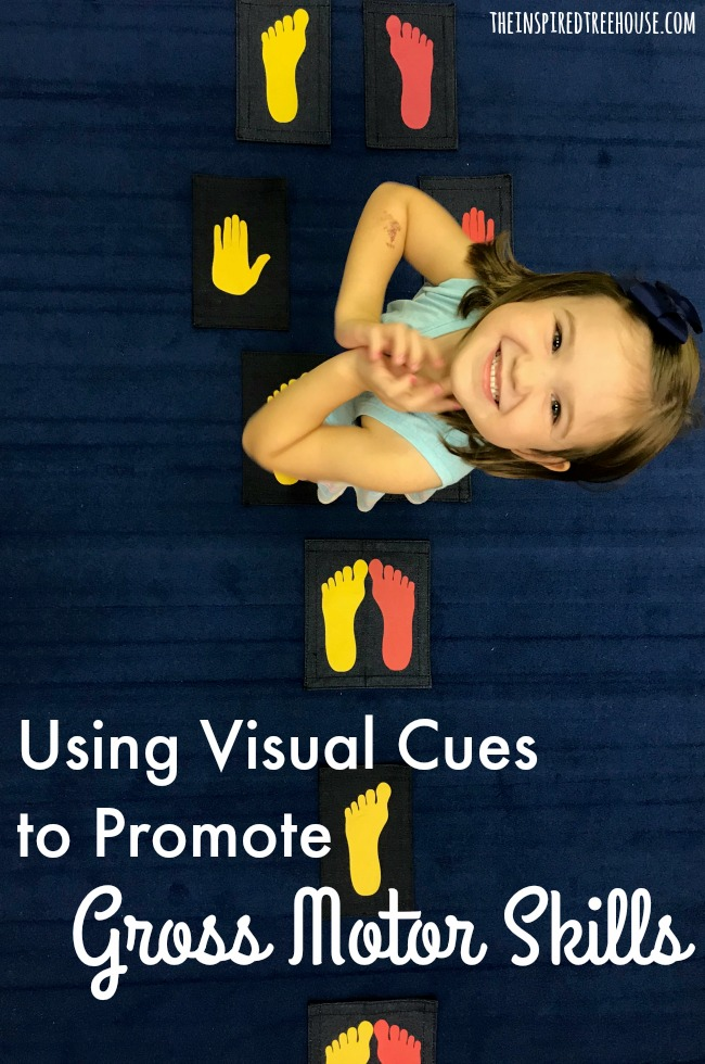 The Inspired Treehouse - Using visual cues is a great way to support the development of gross motor skills in kids.  Read on to find out more!