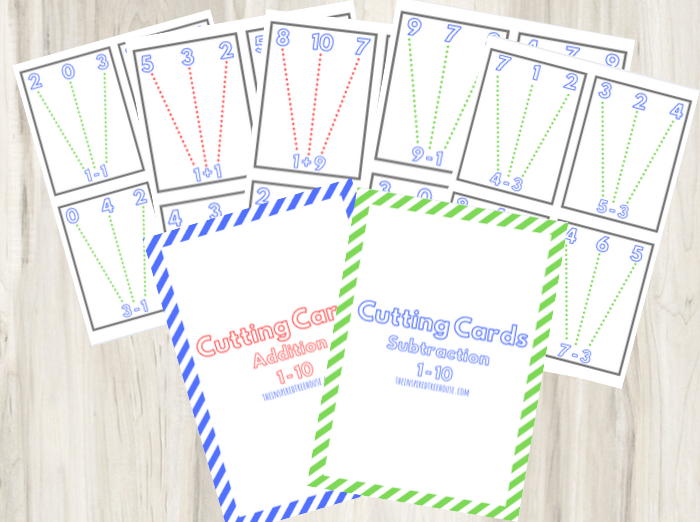 Printable hands on math activities cutting cards